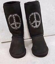Penelope Wildberry Womens Sheepskin Boots  sz 7 Jeweled hand painted Brand New