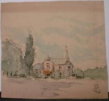 Dessin Original Aquarelle Encre PAUL COUVREUR - Village de l'église - PC210