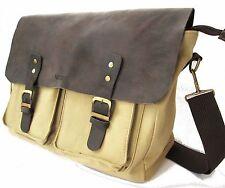 Messenger Bag Briefcase cowhide Leather Canvas Bag Vintage Style Ship Worldwide