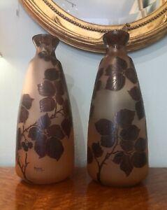 Paire de grands vases Art Nouveau en verre émaillé signée MODA Maison DAUM.