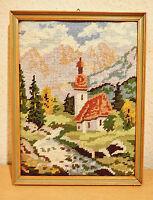 Stickbild,Landschaft,Handarbeit,im Holzbilderrahmen mit Aufhängung.-30 x 23 cm