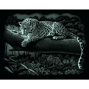 Leopard Mammut Kratzbild silber ohne Rahmen Scraper Kratzbilder Tiger Löwe