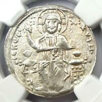 Andronicus II and Michael IX AR Basilicon Coin 1294-1320 AD - NGC Choice XF