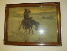 WALTER GRANVILLE SMITH'S LONE MOUNTED WARRIOR IN OAK WITH BRASS MOUNTED FRAME