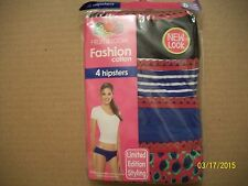 FRUIT OF THE LOOM HIPSTER 4 PARIS MULTI-COLORS SIZE 8 NEW & SEALED