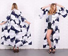 Vintage 70s White + Navy Blue Kimono Dress Coat Abstract mountain print M L XL