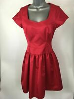 WOMENS REISS DEEP PINK SATIN FIT & FLARE SHORT LINED OCCASION DRESS SIZE UK 6