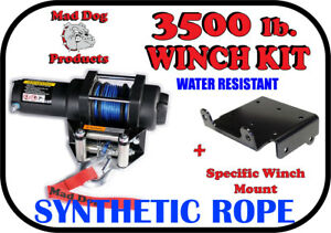 3500lb Mad Dog Synthetic Winch/Mount for '05-'16 Kawasaki Mule 600 2x4 / 610 4x4