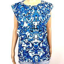 Worthington Womens Size Large L Cap Sleeve Top Blouse Semi Sheer Watercolor Blue