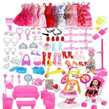 118Pcs Clothes and Accessories for Barbie Doll Party Dress Outfit Glasses Shoes
