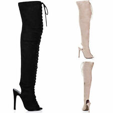 Stiletto Over Knee Boots Faux Suede Unbranded Women's