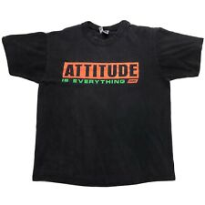 VTG BIKE ATTITUDE IS EVERYTHING SPELL OUT BLACK SINGLE STITCH USA T SHIRT L
