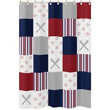 Red White Blue Patchwork Baseball Sports Bathroom Fabric Bath Shower Curtain