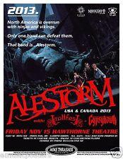 ALESTORM / TROLLFEST / GYPSYHAWK 2013 PORTLAND CONCERT TOUR POSTER- Metal Music