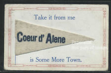 IDAHO Coeur d' Alene LITHOGRAPH 1912 WHITE FELT PENNANT GREETINGS Very good