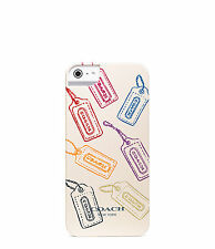 NIB Coach iPhone5 Case Hangtag Cream Multicolor Plastic Signature Logo 64989B