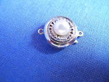14 Karat Weißgold Kettenverschluß mit Perle Perlenkette Halskette