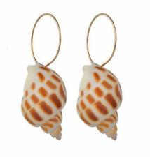 NEW Beautiful Hawaiian Spiral Stripe Conch Sea Shell Drop Pierced Earrings