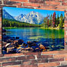 """Stunning Mountain Lake Printed Canvas Picture A1.30""""x20"""" 30mm Deep Home Decor"""