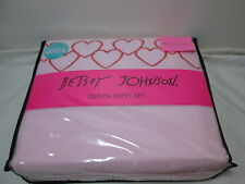 New Betsey Johnson Queen Sheet Set HEARTFULL ~ Red Embroidery Heart on Pink NIP