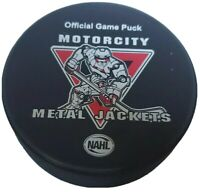 MOTORCITY METAL JACKETS NAHL OFFICIAL GAME PUCK RARE MADE IN 🇨🇦 LINDSAY MFG.