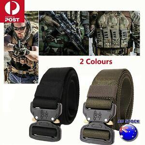 Mens Canvas Outdoor Tactical Belt Heavy Duty Army Waist Web Strap Waistband