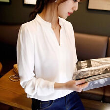 Women Long Sleeve Chiffon Blouse V Neck Office Lady T-Shirts Tops Fashion