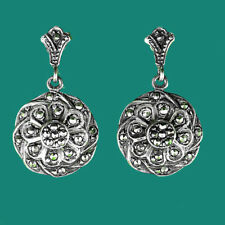 Gorgeous Vintage Inspired Solid Sterling Silver 925 Marcasite Drop Earrings