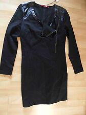 10 feet elegante abito con dettagli ecopelle nero taglia L nuovo zc316
