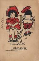 1908 VINTAGE COMIC LONESOME YOUNG GIRL & BOY LEAVING EACH OTHER POSTCARD