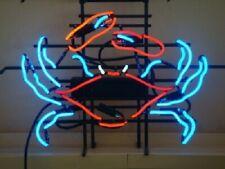 "Crab Seafood Open Neon Lamp Sign 17""x14"" Bar Light Glass Artwork Display Decor"