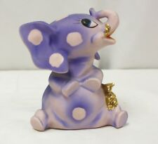Vintage Purple & Pink Polka Dots Piggy Banks With Gold Teddy Bear