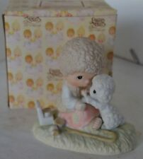 Precious Moments Porcelain 1978 He Lareth For You Boy Helping Lamb With Box