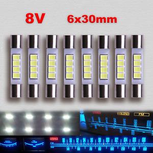 8pcs Marantz LED Lamp WHITE AC8V 6x30mm Dial Meter Light Fuse Bulb Replacement