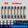 8pcs Marantz LED Lamp WHITE AC8V 6x30mm Dial Meter Light Fuse Bulb Replacement