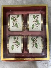 Lenox Holiday Napkin Rings Set of 4 Holly Leafs & Berry's Design