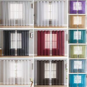 Pair of Voile Net Panels SLOT TOP, EYELET or TAB TOP Curtains + Free Tie Backs