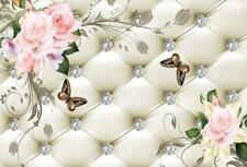 White Leather Backrest Photography Crystal Flowers Butterfly Background Backdrop