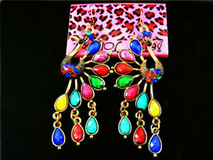 BETSEY JOHNSON'S GOLD FILLED PEACOCK EARRINGS WITH MULTI COLOUR ONYX STYLE STONE