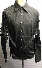Steampunk Sdl Men's Black Cotton Shirt With  Detachable Sleeves & Straps XL