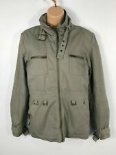 WOMENS VALESI KHAKI GREEN LINED UTILITY/MILITARY JACKET CASUAL ZIP UP SIZE M