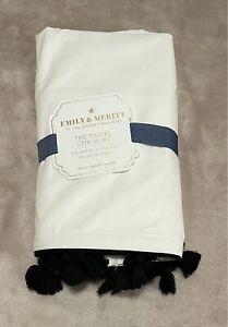 Pottery Barn Kids Emily & Meritt Tassel Crib Skirt Black White New HTF