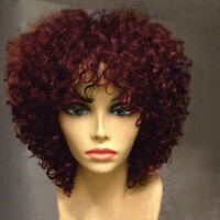 Women Black Short Full Wavy Wig Afro Natural Kinky Curly Hair Full Wigs 4 Colors