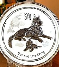 "Australia 10 oz. Lunar  ""YEAR OF THE DOG"" $10 Silver Coin in Capsule."