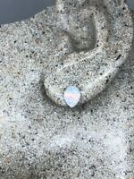 Vintage Deco White Opal 925 Sterling Silver Stud Earrings