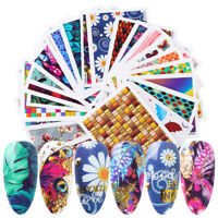 24 Sheets Colorful Butterfly Nail Water Decals Various Flowers Transfer Stickers