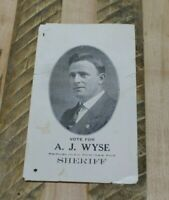 Vtg Election Running Card A J Wyse Republican Nominee for Sheriff Vote For