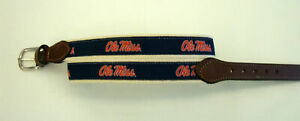 University Miss Ole Miss Embroidered Leather Canvas Collegiate Belt Size 32 NWT