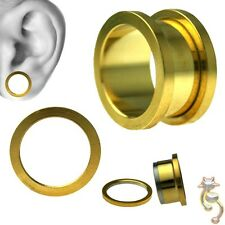 Body Jewelry Tunnel Ear Screw Surgical Gold Plated Surgical Steel Plugs Gauge