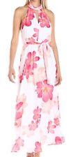 Calvin Klein NEW White Pink Women's Size 2 Floral Keyhole Maxi Dress $139- #049